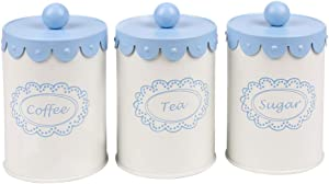 Home By Jackie X789 Set of 3 Metal Kitchen Food Storage Tin Canister/Jar/Container with Flower Lid (blue)