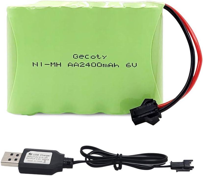Gecoty® Batería AA recargable NiMH 6V 2400mAh con cable de carga USB, enchufe SM 2P, para el coche de control remoto, juguetes, herramientas eléctricas, electrodomésticos