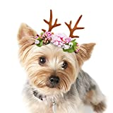 Idepet Pet Dogs Cats Adjustable Antlers Headband Christmas Halloween Hoilday Costume with Flowers Decoration Hair Accessories for Puppy (S)