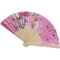 Folding Hand Held Fans, Inkach Folding Fans Japanese Cherry Blossom Folding Hand Dancing Wedding Party Decorative Fan (Pink)