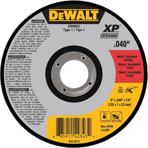 DEWALT DW8052 Type 1 Metal/Stainless Steel Cutting Wheel, 5'' x 0.04'' x 7/8''