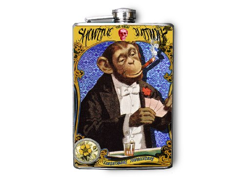 - Circus Monkey Smoking Playing Poker Decorated Stainless Steel Flask 8oz FN491