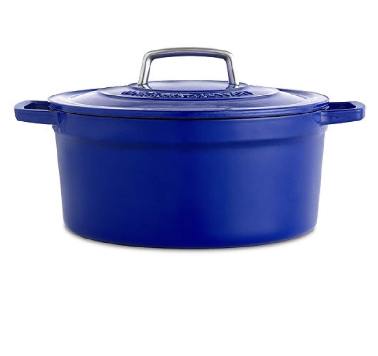 Martha Stewart Collection Collector's Enameled Cast Iron 8qt Round Dutch Oven Indigo (Cast Iron, 8Qt)