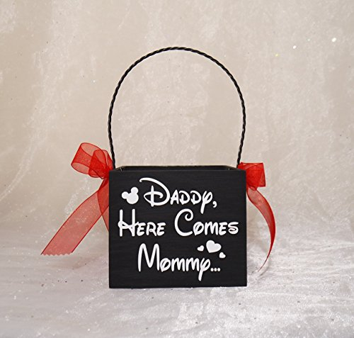 Disney Themed Daddy Here Comes Mommy Flower Girl Basket OR Here Comes The Bride Basket, Shabby Chic Flower Girl Basket, Flower Girl Basket (Daddy Here Comes Mommy Flower Girl Basket)