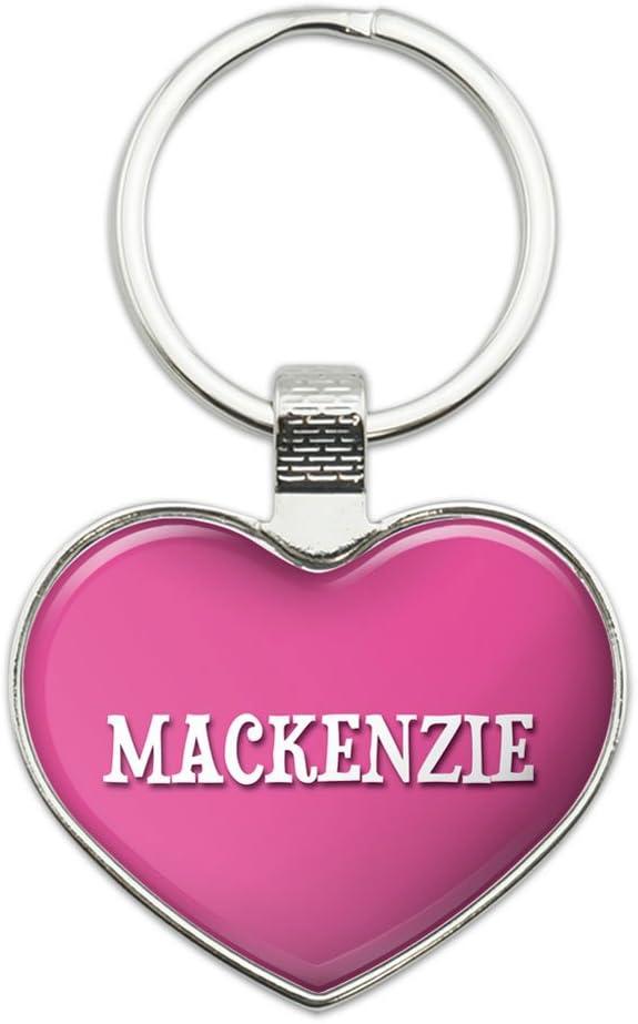 Lauren Metal Keychain Key Chain Ring Pink I Love Heart Name L-M