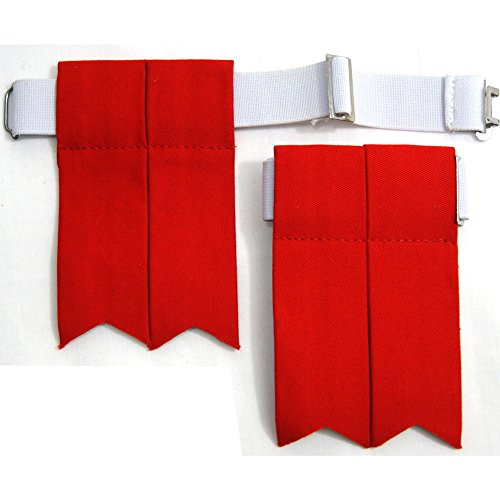 USA Kilts Standard Red Kilt Flashes with Adjustable Elastic Garter