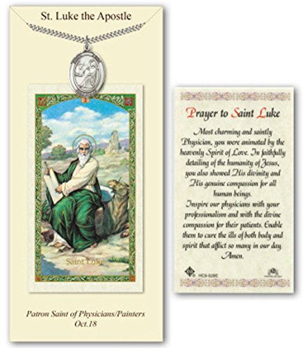Pewter St Luke the Apostle Medal on a 24 Inch Heavy Curb Chain with a Prayer to St Luke the Apostle Prayer Card.