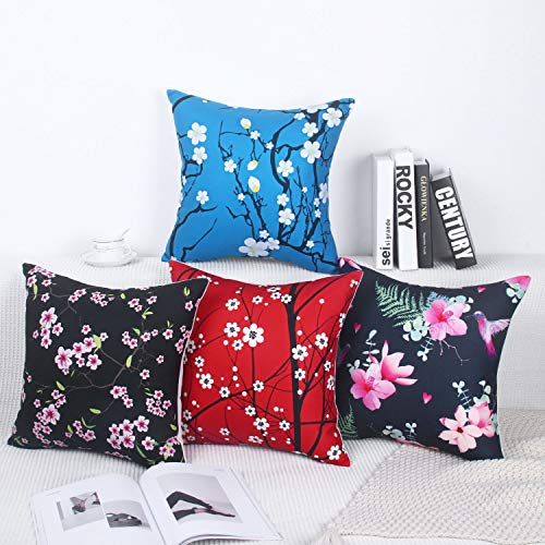 (Zeroomade Throw Pillow Covers Decorative Square Cushion Covers Throw Pillow Cases for Sofa Bedroom Car Pack of 4 Fields and Gardens 18 X 18 inches/45 X 45 cm)