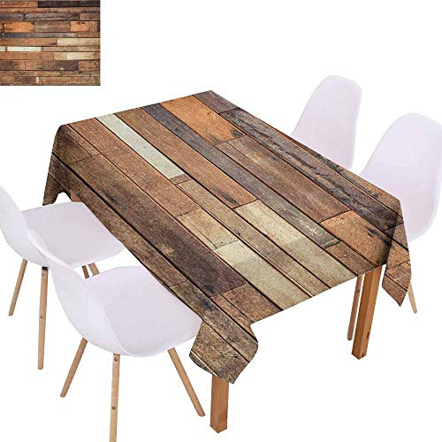 Marilec Restaurant Tablecloth Wooden Rustic Floor Planks Print Grungy Look Farm House Country Style Walnut Oak Grain Image Excellent Durability W60 xL84 Brown