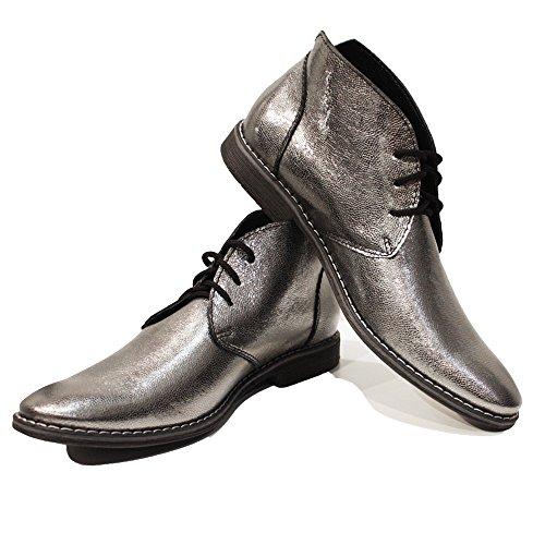 Da Argento Italiano Modello SilaroHandmade Di Morbido Pelle Peppeshoes In Boots Capra Uomo Allacciare Chukka FJl3TcK1