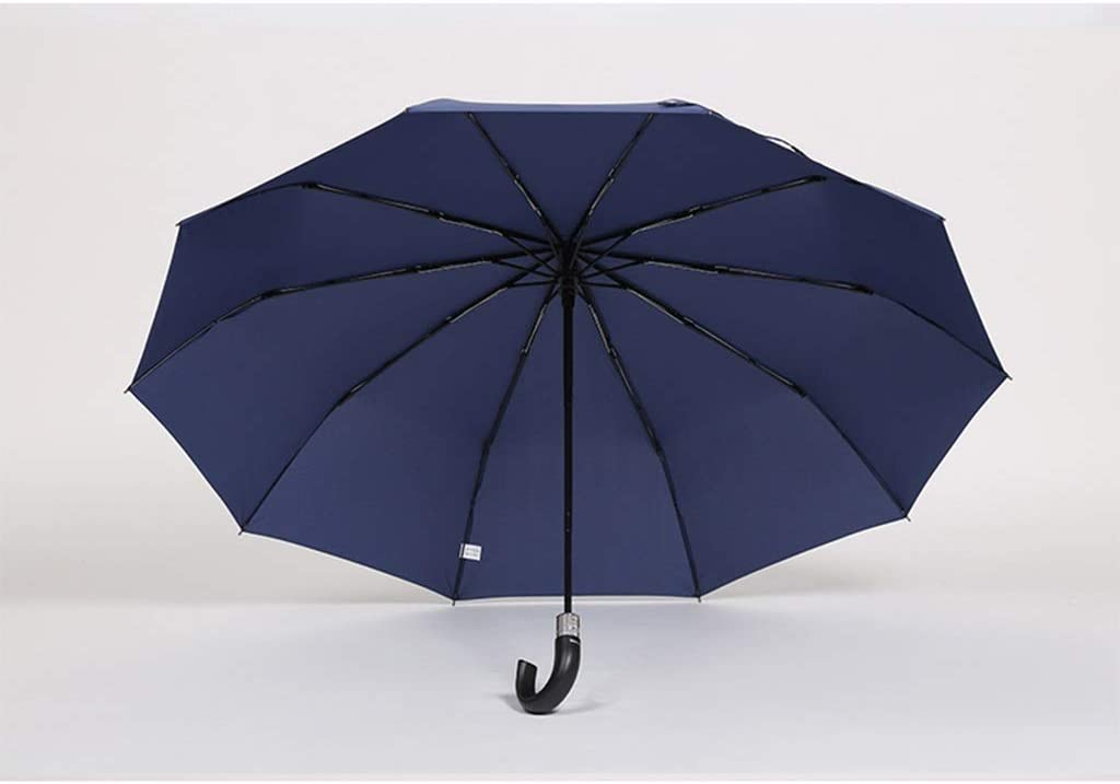 Color : Blue HongTeng Umbrella Folding Large Solid Color Reinforcement Windproof Curved Handle Automatic Business 44.9x27.2in