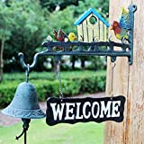 HIZLJJ Outdoor Wall-Mounted Fountains Door Chimes Bells Heavy Duty Cast Iron Wall Hanging Bell Welcome Sign - Decorative Mediterranean Style Anchor Manually Shaking Doorbell Home Wall Art Decoration