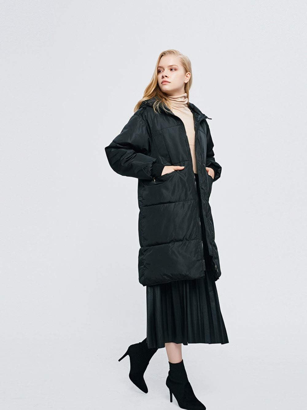 EIJFKNC Blousons Parkas Femmes Femmes Manteau d'hiver Épaississement À Capuche en Coton Veste Parkas pour Femmes Hiver Long Épais Chaud Coton Outwear Noir