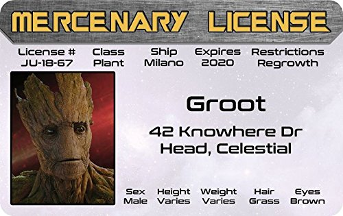 The Collector Guardians Of The Galaxy Costume (I am GROOT Guardians of the Galaxy Marvel Comics ID Vin Diesel Drivers License / fun fake id card)
