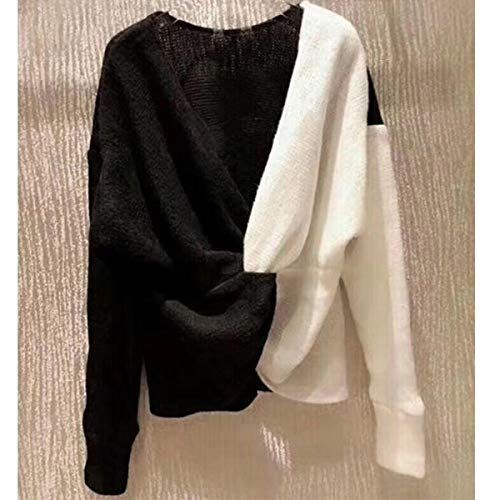 White Blocchi Di A V Maniche Lavorazione Scollo Donna Bianco Maglia Lunghe Con Colore Nero Maglione Da ZEqd5wq