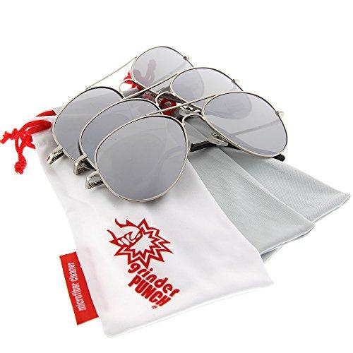 grinderPUNCH® Mirrored Lens Aviator Sunglasses 3 Pack Bulk Lot for Men and Women - Johnny Knoxville Sunglasses