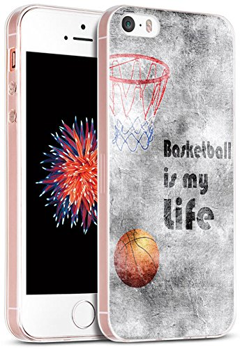 5S Case/Case for Phone SE Basketball/IWONE Designer Rubber Durable Protective Skin Transparent Cover Shockproof Compatible with iPhone 5S/5/SE + Creative Painting Basketball Writings Sports