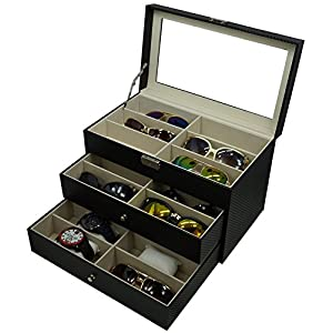 Holding 6 Watches and 12 Glasses, or 18 Glasses, Sunglasses Box Eyewear Watch Accessories Display Storage Case Organizer