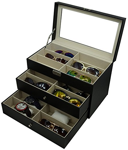 Holding 6 Watches and 12 Glasses, or 18 Glasses, Sunglasses Box Eyewear Watch Accessories Display Storage Case - Drawer Organizer Sunglass