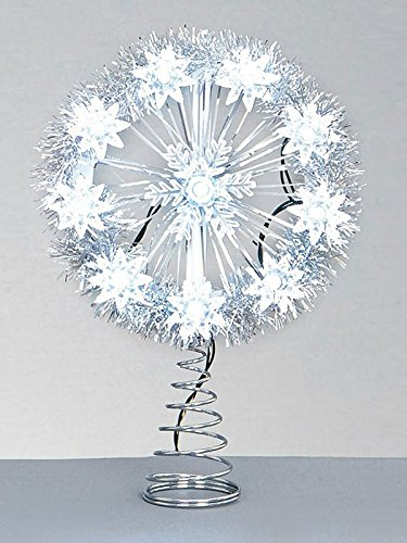 26cm Battery Operated LED Snowflake Tree Topper - White premier
