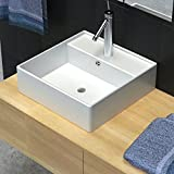 Luxury Bathroom Basin Ceramic Basin Square Basin Sink with Overflow and Faucet Wash Basin Practical Vessel for Everyday Use