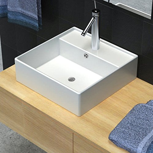 Luxury Bathroom Basin Ceramic Basin Square Basin Sink with Overflow and Faucet Wash Basin Practical Vessel for Everyday Use by Chloe Rossetti