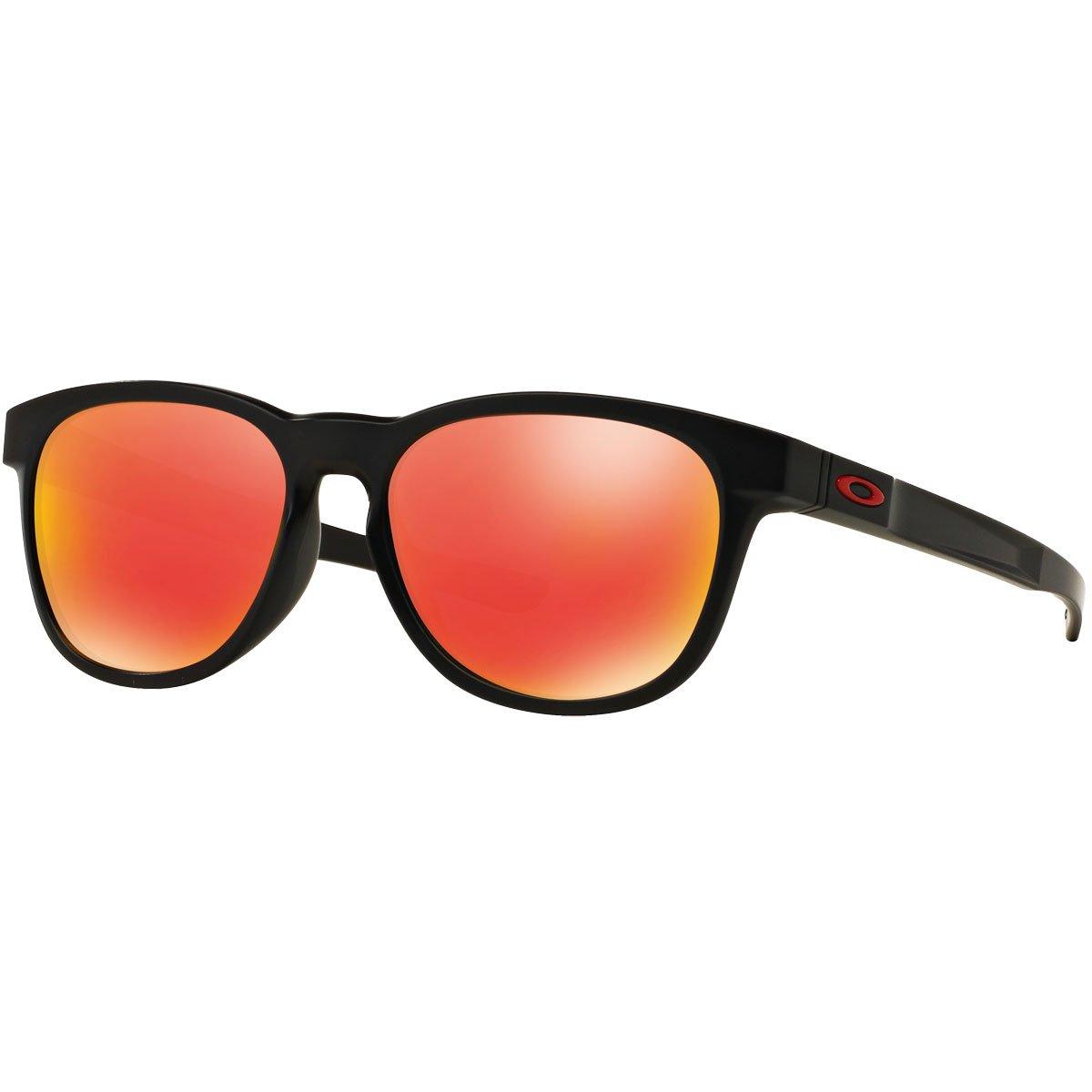 Oakley Men's OO9315 Stringer Rectangular Sunglasses, Matte Black/Ruby Iridium, 55 mm by Oakley