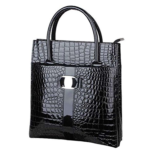Vertical Leather Bag (TJEtrade Handbag for Women Fake Crocodile Leather Briefcase Fashion Tote Bag Zip)