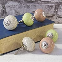 Set of 6 vintage shabby chic cream pink green Crackled Ceramic Cupboard Door Knobs by Pushka Knobs