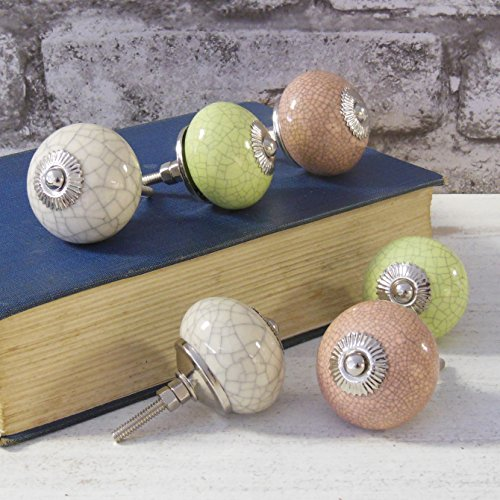 Set of 6 vintage shabby chic cream pink green Crackled Ceramic Cupboard Door Knobs by Pushka ()