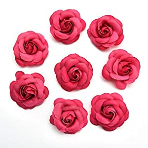 Artificial Flowers Fake Flower Heads in Bulk Wholesale for Crafts Rose Head Silk Rose Bud Wedding Decoration DIY Party Home Decor Wreath Headdress Accessories 20pcs 5cm (Colorful) 5