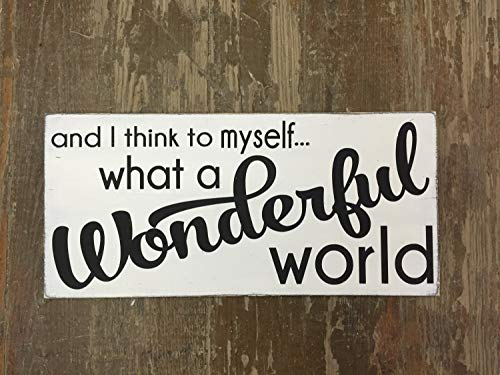Cartel de Madera con Texto en inglés'What A Wonderful World Love' para decoración de la Familia, Louis Armstrong Song,...