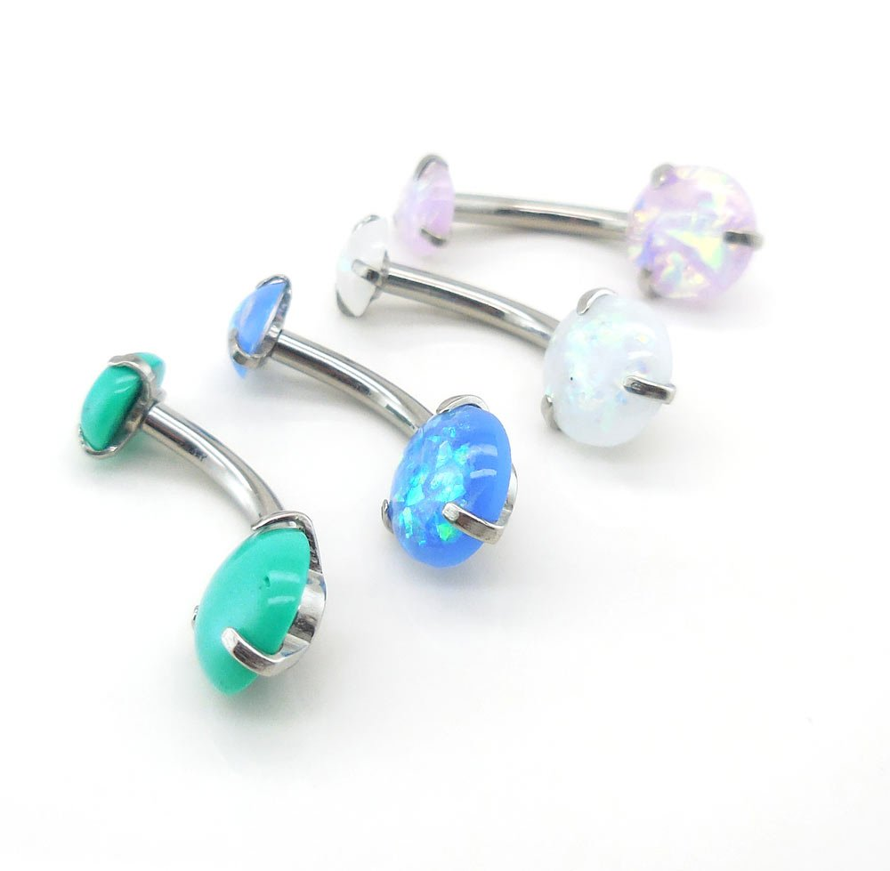 Emmajewels 14G 3/8'' Simulated Opal Prong Set Stainless Steel Belly Button Internally Threaded Navel Ring (All Four)