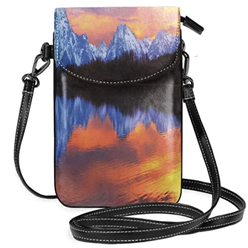 Women Small Cell Phone Purse Crossbody,Snake Lake At Grand Teton National Park Fascinating Sunset View With Reflections