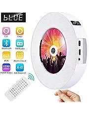 Lecteur de DVD Portable Bluetooth Lecteur de Musique CD/DVD à Montage Mural Gueray avec Full HD 1080p et télécommande pour Enfants Étudiants Haut-Parleur HiFi intégré Radio FM Sortie USB