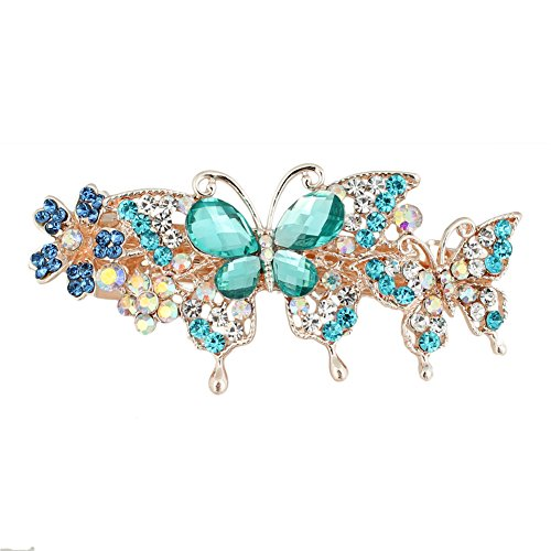 Aquamarine Clip - GSM Accessories Womens Rhinestone Mother Daughter Butterflies Large Size Alloy Hair Clips Barrettes HC205-Aquamarine