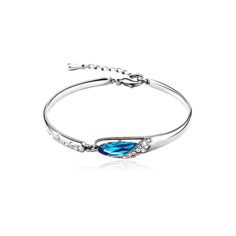 CLÉMENT & HILTON Bracelet Blue Crystals Gifts Hand chain Specially women, 925 fine silver diamond, the most intimate gift(friends/mothers)