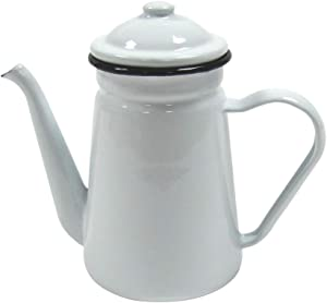 Treasure Gurus Rustic White Enamel Outdoor Camping Hot Coffee Tea Pot Vintage Farmhouse Kitchen Decor