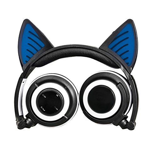 Cat Ear Headphones,Wireless Bluetooth Headset Flashing Glowing Cosplay Fancy LED Light USB Charger Earphone for Girls Children,Compatible for iPhone and Other Android Phones (Black)
