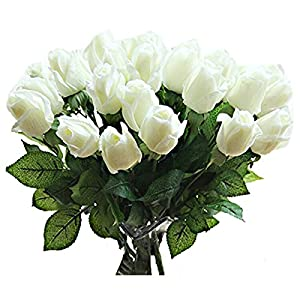 TOOGOO(R) 10 pcs New Beautiful Real touch rose bud latex artificial flower for Home wedding party Living Room Decoration bouquet floral arrangement christmas gift (white) 6