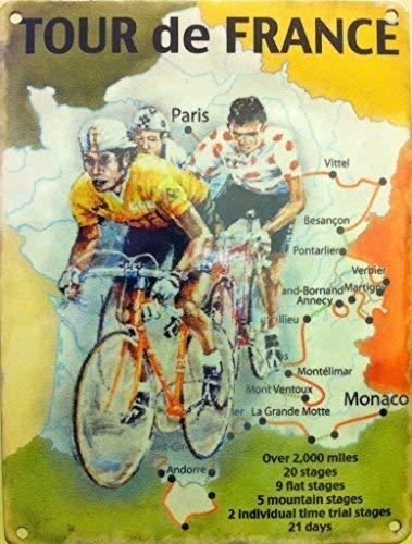 Tour de France Map, Amarillo Jersey Deporte, Ciclo, Bicicleta, vintage, antiguo para el hogar, cobertizo, habitación del hombre, barra deportiva, ...