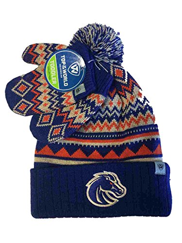 se State Broncos Tow Toddler Kids Lil Dust Beanie Hat Cap & Mittens Set ()