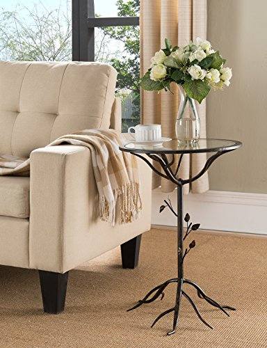 Kings Brand Brush Gold Metal with Glass Accent Side End Table