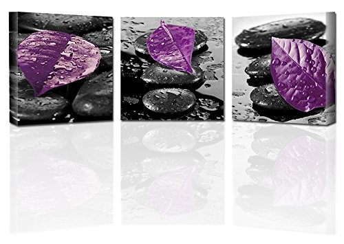 Ardemy Canvas Art Zen Wall Decor, Painting Purple Leaves Black Zen Stones 16x16 inch 3 Panels, Modern Waterproof Giclee Prints Gallery Wrapped for Bedroom Spa Room Bathroom Wall Decor
