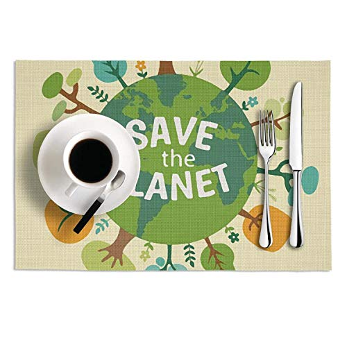 - Quinnteens Washable Table Mats Save the Planet Earth Illustration Poster Non-Slip Insulation Placemat (2pcs placemats,12x18 inch)