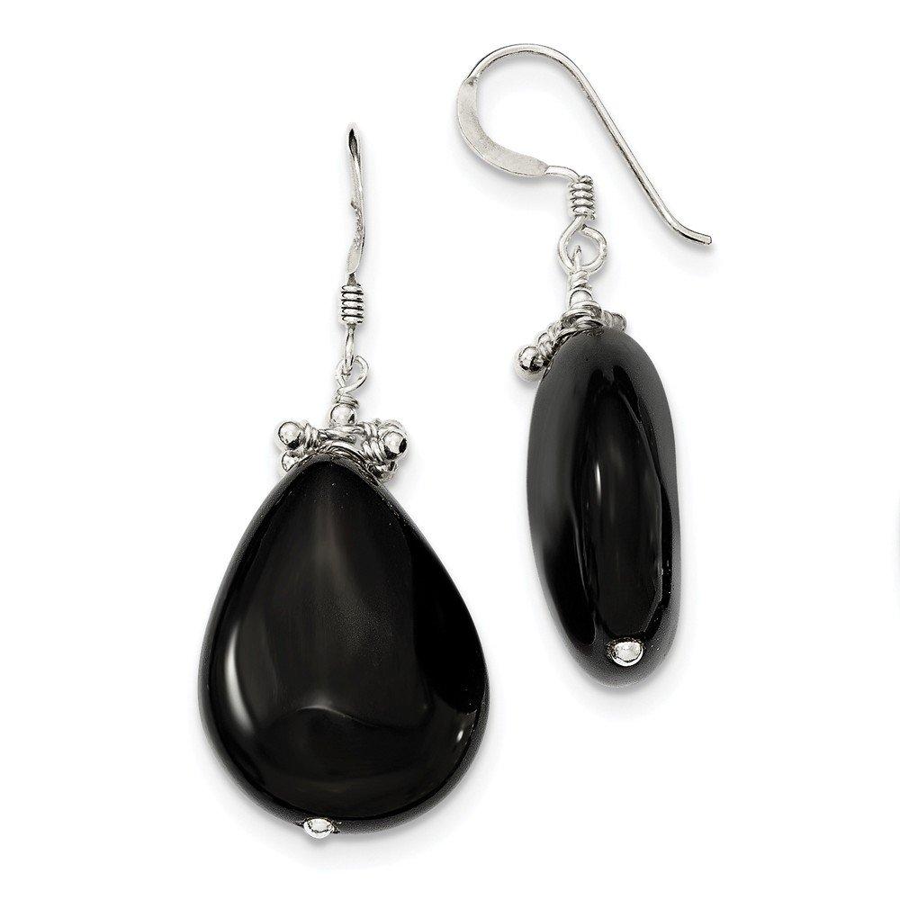Sterling Silver Black Agate Earrings 42x18mm