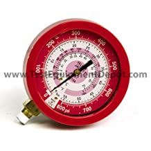 """Yellow Jacket 49519 3-1/2"""" Liquid-Filled Gauge (degrees F and degrees C) Red Pressure, 0-800 psi (0 to 55 bar), R-410A"""