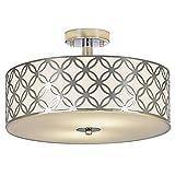 SOTTAE European 2 lights Bowl Shaped Flush Mount Chrome Finish Mondern Crystal Chandelier Ceiling Light, Crystal Ceiling Light For Bedroom Living Room