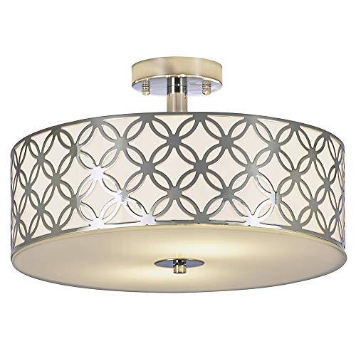 SOTTAE Luxurious Living Room Bedroom Ceiling lamp Creamy White Glass Diffuser Chrome Finish Flush Mount Ceiling Light, Ceiling Light Fixture In 13 Inches ()