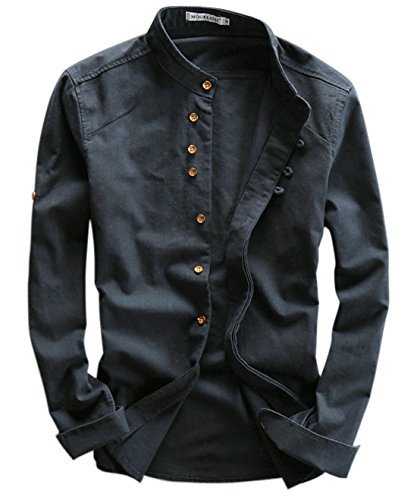 utcoco Men's Vintage Linen Stand Collar Button Up Shirt Long Sleeve (Large, Navy Blue) (Shirts Vintage Men)